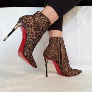 """NEW Christian Louboutin """"Nancy"""" Tulle Ankle Boot"""